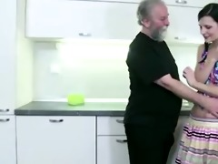 concupiscent slim girl lets old man entice her,