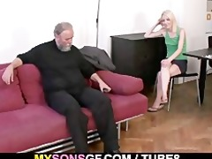 old daddy forces his sons gf suck his dick