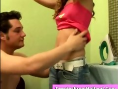 slutty euro teen stripped and caressed