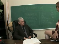 juvenile slut copulates old teacher to pass the