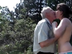 old grandpa copulates young slut outdoor