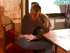 brother enticed sister and fucked her on table