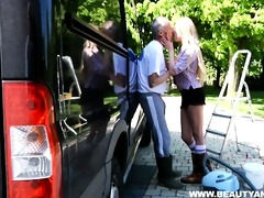dirty legal age teenager suck an old dude\s wang