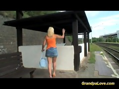 old stud blackmails juvenile cute blonde slut for