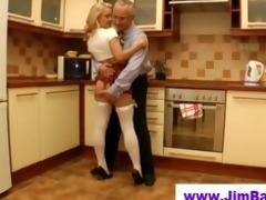 old chap fucks blonde in short skirt
