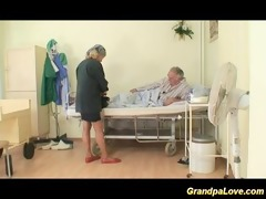 grandpa babe fucking a nice brunette nurse giving