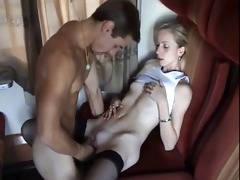 a youthful dude bonks his mother on a teach