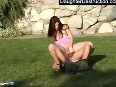 pleasing legal age teenager daughter fucks like a