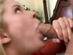 golden-haired bitch in red fishnet gets fucked in