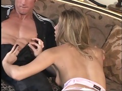 blond let&s an aged dude taste her pussy in