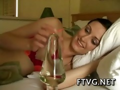 chick plays with vibrator