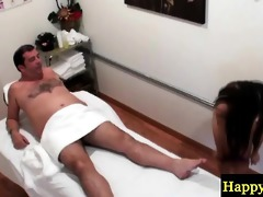 young asian masseuse wanking an old guy