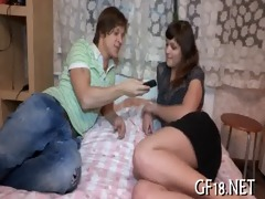 bewitching brunette beauty rides up overweight