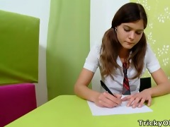 tricky old teacher - nadya is studying hard
