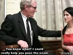 gorgeous young student tempted by an old fart