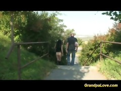 grandpa fucks legal age teenager in public