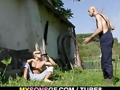 horny gf cheats outdoors with her bfs dad