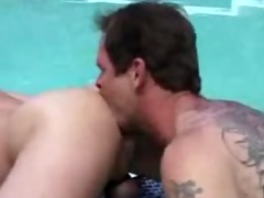 dad bonks younger in pool