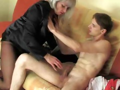 juvenile man enjoying a horny older woman