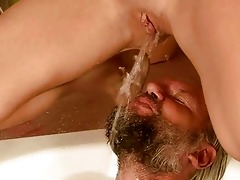 older man and beauty pissing and fucking